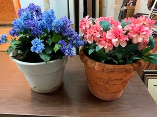 Silk flower in flower pots