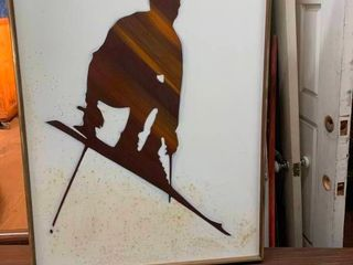 Skier canvas oil painting