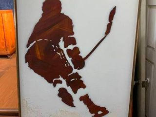 Ice hockey player canvas oil painting