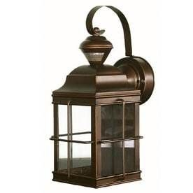 Portfolio New England Carriage 14 75 in H Antique Bronze Motion Activated Outdoor Wall light