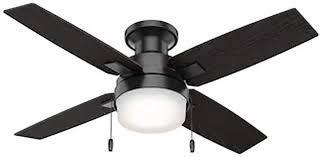 Hunter Port Haven 44  Matte Black Outdoor Ceiling Fan W  led light Kit