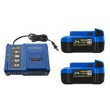 kobalt charger and battery lithium ion 24 v max extended run blue