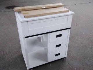 white vanity with top door and back splash 30 width x35 tall 20 deep