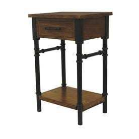 Walnut Composite Industrial End Table