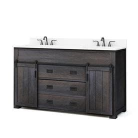 Style Selections Morriston Distressed Java Double Sink Vanity with White Engineered Stone Top  Common  60 in x 20 in