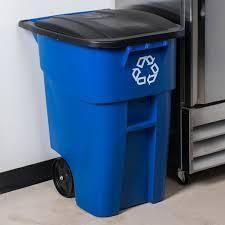 rubbermaid blue trash can