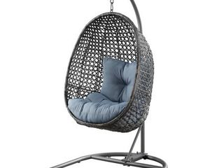 Better Homes   Gardens lantis Patio Wicker Hanging Chair with Stand and Blue Cushion