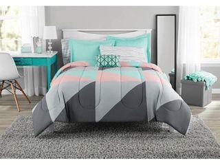 Mainstays Grey   Teal Bed in a Bag Bedding Set with BONUS Sheet Set  Queen