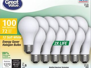 Great Value Halogen 72W  100W Equivalent  Soft White Color  1 8 Year life  E26 Medium Base  Dimmable  12pk light Bulbs