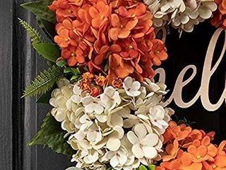 QUNWREATH Fall Wreath  Hydrangea Wreath  Wreath for Front Door  Autumn Wreath  Hello Wreath  Milk White Orange Wreath  Farmhouse Wreath  18 Inch