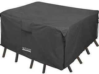 UlTCOVER 600D Tough Canvas Durable Square Patio Table and Chairs Cover   Waterproof Outdoor General Purpose Furniture Cover   136 x 74 inch  Black