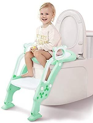Potty Training Seat  Toddler Toilet Seat  Potty Chair with Splash Guard for Kids  Anti Skid  Soft Cushion  Potty ladder  Green