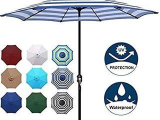 Blissun 9  Outdoor Aluminum Patio Umbrella  Patio Umbrella  Market Blue Umbrella with Push Button Tilt and Crank