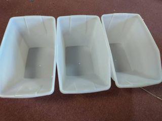 Tucker brand  white bins with lids  3 pack