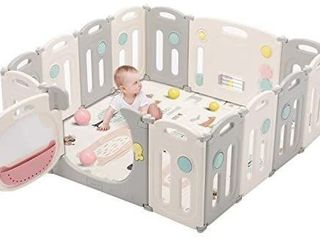 Kidsclub Baby Play Yards Foldable Safety Play Center Baby Playpen Home Indoor Outdoor Pen HDPE Material and BPA Free Baby Fence Infant Play Pin
