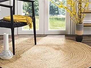 Natural Fiber Collection Hand woven Jute Area Rug  150 cm Round  Natural Natural Pacific