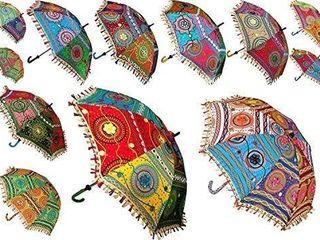 Indian Decorative Handmade Designer Cotton Fashion Multi Colored Beach Umbrella UV Protection Umbrella  Sun Umbrella  Embroidery Boho Parasol Indian Wedding Umbrellas Parasol  5 PCS