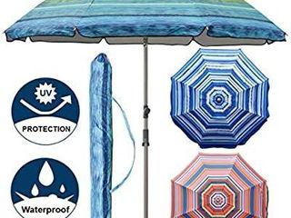 Blissun 7 2  Portable Beach Umbrella with Sand Anchor  Tilt Pole  Carry Bag  Air Vent  Green