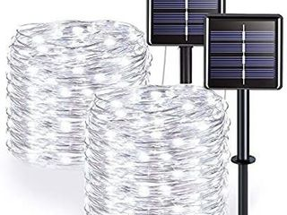 2 Pack Solar String lights  8 Modes 100 lED 32 8ft Solar Waterproof Fairy Copper Wire lights for Christmas  Bedroom  Patio  Wedding  Party  Indoor  Outdoor Decor  White