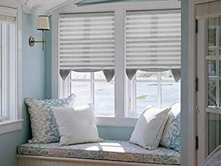 Acholo Pleated Fabric Shades Temporary Cordless Blinds light Filtering for Windows