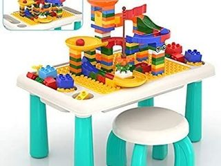 lucky Doug Block Table for Toddler with 105PCS Marble Run Sets
