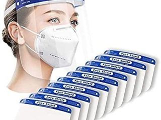 Salipt 10 Packs Face Shields with 10 Bands and 10 Sponges