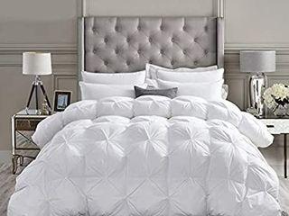 luxurious All Season Goose Down Comforter Queen Size Duvet Insert  Exquisite Pinch Pleat Design  Premium Baffle Box  1200 Thread Count 100  Egyptian Cotton  Hypoallergenic  55 oz Fill Weight  White