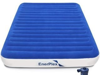 EnerPlex Never leak luxury Queen Air Mattress with High Speed Wireless Rechargeable Pump Queen Airbed Single High Inflatable Blow Up Bed for Home Camping Travel 2 Year Warranty