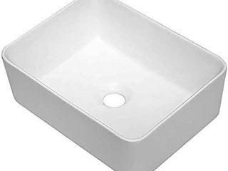Vessel Sink Rectangle   Sarlai 16 x12  Modern Rectangle Above Counter White Porcelain Ceramic Bathroom Vessel Vanity Sink Art Basin