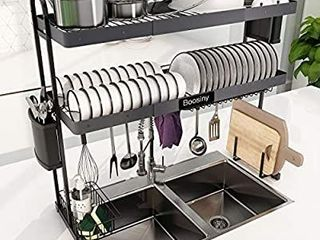 Adjustable length Drainer Shelf with Utensil Holder  Above Sink Storage Shelves Organizer
