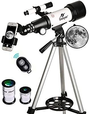 Gskyer Telescope  70mm Aperture 400mm AZ Mount Astronomical Refracting Telescope for Kids Beginners   Travel Telescope with Carry Bag  Phone Adapter and Wireless Remote