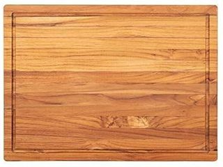 Terra Teak Wooden Cutting Board with Juice Well   Premium Eco Friendly Teak for Serious Chefs  large 20 x 15 x 1 25 Inch
