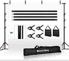 MOUNTDOG 8 5ftx10ft Background Stand Backdrop Support System Kit Photo Video Studio Adjustable Heavy Duty Background Support with Carrying Bag