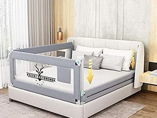 Toddlers Bed Rails Extra long Swing Down Baby Bed Guards Fold Down Safety Bedrail with Dear Pattern