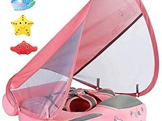 2020 Newest Size Improved Add Tail Never Flip Over UPF 50  Mambobaby Solid Swimming Float Non Inflatable Swim Trainer Pool Float with Canopy  Pink