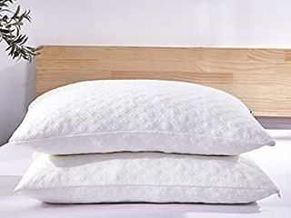 Dreaming Wapiti Pillows for Sleeping  2 Pack Shredded Memory Foam with Machine Washable Bamboo Cover  Adjustable loft Stomach Side Back Sleeper  Queen   2 Pack  White