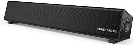 TaoTronics Bluetooth 5 0 Computer Speaker  Wired Wireless Computer Sound Bar  Mini Soundbar Speaker for PC Cellphone Tablets Desktop  Aux Connection