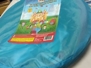 Playz 7pc Kids Playhouse Pop Up Play Tent Crawl Tunnel Ball Pit With Basketball