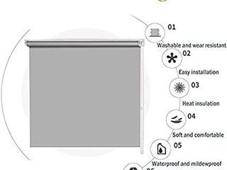 Blackout Waterproof Fabric Window Roller Shades Blind Thermal Insulated