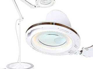 lightview Pro Magnifying Glass with lED Floor lamp   Rolling Base Stand White   High Contrast White light Best For Crafts   Reading