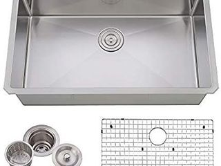 VCCUCINE Commercial Durable 30 Inch Farmhouse Stainless Steel 18 Gauge Undermount Kitchen Sink  Satin Kitchen Sink With Strainers And Dish Grid