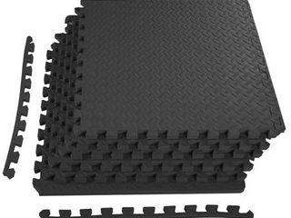 Everyday Essentials 3 4  Thick Flooring Puzzle Exercise Mat with High Quality EVA Foam Interlocking Tiles  6 Piece  24 Sq Ft  Black