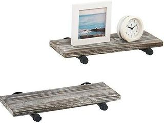 MyGift Wall Mounted Urban Rustic Torched Wood Floating Storage Display Shelves