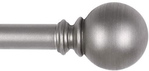KAMANINA 1 Inch Curtain Rod 36 72 Inches  Round Finials  Silver Drapery Rod