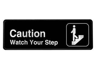 Alpine Industries Caution   Watch Your Step Sign 3 in  x 9 in  a Plastic Signage w Adhesive Back   Black and White