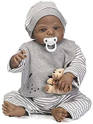 TERABITHIA 56cm Black Rare Alive Collectible African American Reborn Baby Boy Dolls look Real
