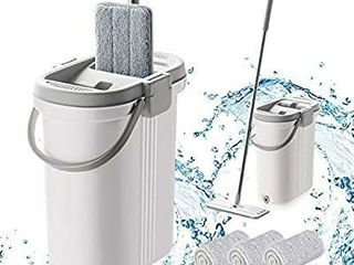 BOOMJOY Microfiber Flat Mop  Wet Dry Floor Cleaning Hand Free  with 1 Bucket and 3 Reusable Mop Pads  Stainless Steel Handle  Extra large