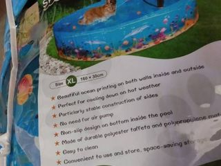 KOOlTAIl Foldable Dog Swimming Pool   Extra large Pet Bathtub   Collapsible Summer Pool with Underwater World Print Portable Durable Outdoor Bathing Pool  63 x 11 8 inches for Dogs Cats and Kids
