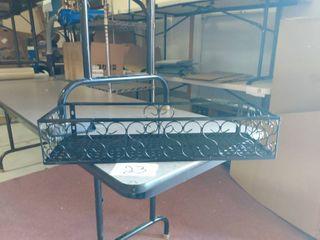 Black metal wall hanging basket for organizing 23 5 x8