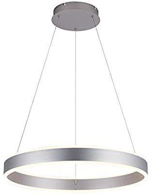 Modern Foyer Pendant light Dimmable lED Chandelier Adjustable Hanging Pendant lighting Silver 76W for living Dining Room Bedroom